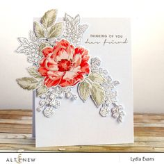 I have a jewel toned, watercolour card to share with you using Peony Bouquet Stamp Set. The April Altenew Inspiration Challenge colours are Altenew Cards, Stampin Up Cards, Outline Images, Send A Card, Watercolor Cards, Sympathy Cards, Creative Cards, Unique Cards, Flower Cards