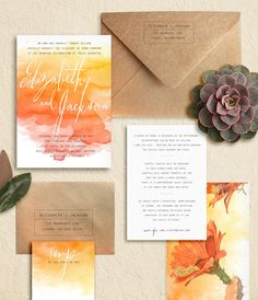 "Watercolor Splash, Calligraphy and Typewriter, Cactus, Arizona Wedding Invitations: ""Sedona"" by Oak & Orchid"