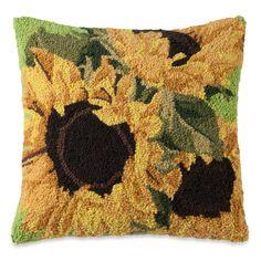 Sunflower Bloom Hooked Wool Pillow   Sturbridge Yankee Workshop