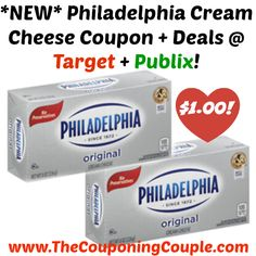 WOOHOO ~ AWESOME PRICE!! *NEW* Philadelphia Cream Cheese Coupon + Deals @ Target + Publix!  Click the link below to get all of the details ► http://www.thecouponingcouple.com/new-philadelphia-cream-cheese-coupon-deals-target-publix/ #Coupons #Couponing #CouponCommunity  Visit us at http://www.thecouponingcouple.com for more great posts!