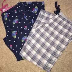 Pajama Pant Bundle One plaid, drawstring with pockets and one dark blue floral patterned with pockets. Lightweight and never worn. 1 for 8.00 or 2 for 13.00. NWOT-Price is firm. Intimates & Sleepwear Pajamas