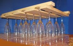 Colgante madera vidrio vino Rack nuevo por uniquedisplaycases