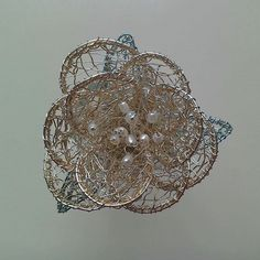 Wedding wear. Wire rose with freshwater pearls. (wear as corsage, buttonhole or brooch)