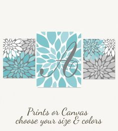 Turquoise Gray Girls Wall Decor Flower Art Monogram Prints or CANVAS Custom Nursery Baby Bedroom Art Personalized Baby Shower Gift Art Set Cuadros Diy, Personalized Baby Shower Gifts, Dark Grey Background, Leaf Wall Art, Collor, Flower Wall Decor, Christmas Gifts For Mom, Bedroom Art, Dorm Decorations