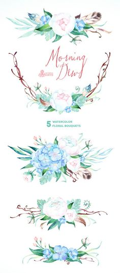 Morning Dew. 5 Watercolor bouquets wedding by OctopusArtis on Etsy
