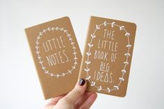 Items similar to Notebook / Blank Book - Little Notes AND The Little Book of BIG Ideas - Pair of hand illustrated Moleskine Journals on Etsy Diy Notebook Cover, Notebook Design, Journal Notebook, Notebook Ideas, Monogram Notebook, Magazine Deco, Hand Illustration, Book Binding, Little Books