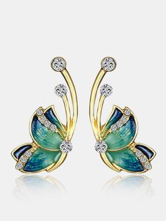 Crystal Earrings, Crystal Rhinestone, Gold Earrings, Butterfly Gold, Butterfly Earrings, Design Alien, Sri Lanka, Character Design Cartoon, Fashion Jewelry Stores