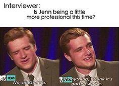 Josh Hutcherson talking about Jennifer Lawrence