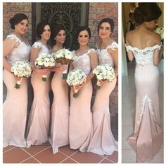 Blush Long Mermaid Bridesmaid Dresses Lace Stain Pleated Back Zipper Court Train Plus Size Dress Vestidos De Festa