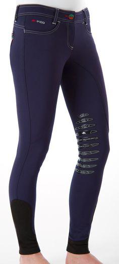 Pantalon Cavali/ère Femme Equitation Tissu Souple Extensible Bleu Marine