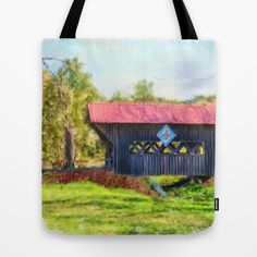 Quilted Covered Bridge Tote Bag