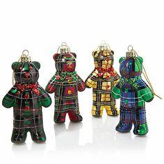 Jeffrey Banks Set of 4 Plaid Bear Ornaments