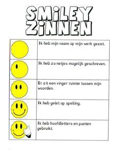 Creatief schrijven | Indeklas.jouwweb.nl Teacher Inspiration, First Grade, Classroom Management, Spelling, Smiley, Literacy, Letters, Teaching, Education