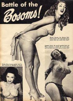 Burlesque dancers: Evelyn West, Winnie Garrett, and Tempest Storm c.1950's