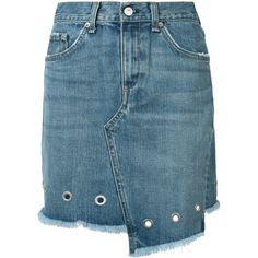 Rag & Bone /Jean Eyelet Detail Denim Skirt (3.300.000 IDR) ❤ liked on Polyvore featuring skirts, eyelet skirt, blue denim skirt, blue skirt, denim skirts and knee length denim skirt