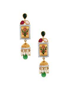 Rectangular Meenakari Earrings With Jhumki