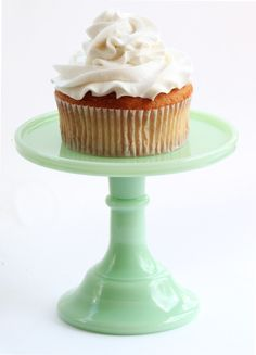 "6"" Milk Glass Cake Stand - Green - $40 from SmashCake Studio"