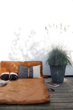 leather outdoor futon for lounging