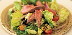 Grilled flank steak salad with roasted corn vinaigrette
