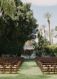 Inspired By This Eclectic Cree Estate Wedding in Palm Springs Wedding Reception Chairs, Wedding Ceremony, Our Wedding, Chuppah, Sweet Couple, California Wedding, Palm Springs, Palm Trees, Elegant Wedding