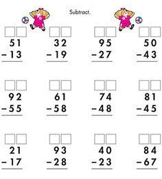 Two-Digit Subtraction with Borrowing | Worksheets, Math and School