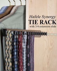 http://www.closet-masters.com/hafele-synergy-tie-rack-with-3-4-extension-slide-807-54-233/ The Hafele Synergy Tie Rack with 3/4 Extension Slide is available in several finishes and lengths providing an inexpensive option for tie organization. #tierack #closetspace
