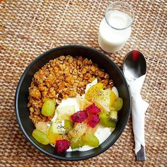 GRANOLA   House made crunchy granola with seasonal fresh fruits greek yoghurt &Oolong peach infused milk #vcr #vcrcafe #food #foodstyling #foodporn #theartofplating #breakfast #granola #twoyoungchefs #greekyogurt #oolong #yummyinourtummy #yummy #delish #chefeats #cheflife #chef #chefsofinstagram #instagood #instafood #cafe #cafehopping #cafehopkl #instachef #cafehopmy #foodie #foodies #instafoodie #foodgasm #foodphotography by twoyoungchefs