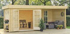 Blokhut / tuinhuisje model Odille 300 met overkapping / zijluifel en zijwanden van Outdoor Life Products