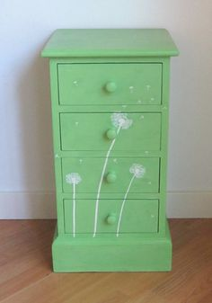 Hand Painted Green and White Dandelion Pine Drawers by Upvamped
