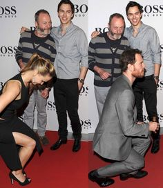 Oh No They Didn't! - Jennifer Lawrence and Michael Fassbender photobombing Nicholas Hoult