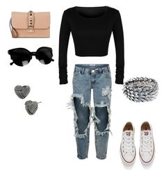 """Senza titolo #1"" by miriam-strini ❤ liked on Polyvore featuring One Teaspoon, Valentino, Converse, Majique and Betsey Johnson"