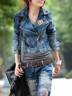 Women's Roll Collar Long Sleeve Oblique Zip Denim Short Jeans Coat|Jacket, WearingSales brings up to the dresses, tops and accessories to those who love Fashion Clothing and shop for the hottest trends. New lines added daily!