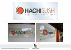 Projeto Placa de vidro, logo aplicada em letras MDF e espaçadores (Hachi Sushi)