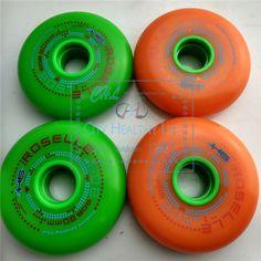 FSK Slalom Skating Wheel with 608 H6 Original Roselle All Meat Inline Skates Wheels, Green Orange for SEBA GYRO