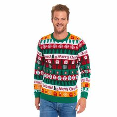 U LOOK UGLY TODAY Mens s Christmas Ugly Jumper Festive Pullover for Party Sweater