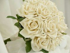 Stunning Wedding Bouquet Of Cream Ivory Roses