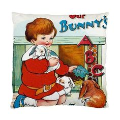 Children's Vintage Our Bunnies ABC Accent Satin Cushion Cover | Bling Jewellery by Janine Antulov | madeit.com.au