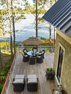 Although a 3,000-square-foot home, HGTV Dream Home 2013 lives like a cozy coastal cottage thanks to steeply pitched roofs, an X-shaped floor plan and landscape design that incorporates existing vegetation.   http://www.hgtv.com/dream-home/hgtv-dream-home-2013-deck-pictures/pictures/page-25.html?soc=dhpp