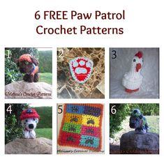 6 free paw patrol crochet patterns Collage - thesteadyhandblog