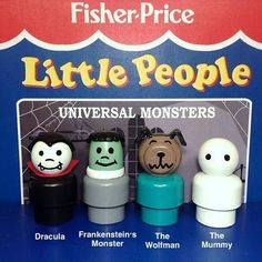 Vintage Toys Death by Toys: New Customs: Fisher Price Little People Universal Monsters Jouets Fisher Price, Fisher Price Toys, Vintage Fisher Price, 70s Toys, Retro Toys, Vintage Toys, 1970s Childhood, Childhood Toys, Childhood Memories