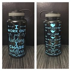 I work out just kidding i chase toddlers water by CraftyLittleBug Water Bottle Crafts, Cute Water Bottles, Water Bottle Design, Personalized Water Bottles, Personalized Cups, Vinyl Crafts, Vinyl Projects, Toddler Water Bottle, Blender Bottle