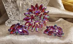 Vintage Rhinestone B. David Brooch Earring Set by TheEclecticDiva, $52.00