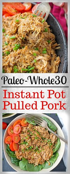 This Paleo Instant Pot Pulled Pork in melt in your mouth good! Moist, tender, and so flavorful. Whole30, gluten free, dairy free, and low fodmap. I made this twice- once with pork loin and once with pork butt (shoulder). Both came out flavorful, but the butt has so much more moisture thanks to th