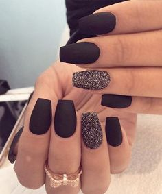 Eye-Catching Matt Black Wedding Nail Art Designs