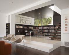 Stunning Hillside House Architecture in White Exterior: Cozy Hollywood Hills Residence Modern Luxury Reading Nook