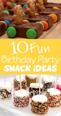 10 Fun & Unique Birthday Party Snack Ideas // 10 ideas divertidas para aperitivos en fiestas