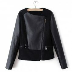 $21.33 Slim Fit Long Sleeve PU Leather Splicing Black Jacket For Women