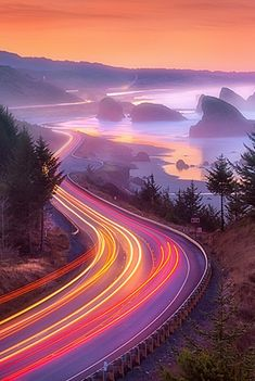 Pistol River Sunrise, Oregon - Photography gives traffic a blurr in Purple-Orange-Yellow...