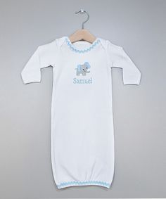 Take a look at this Light Blue Elephant Personalized Gown - Infant by Princess Linens Layette on #zulily today!
