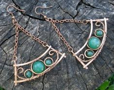 Green copper dangle earrings, Long statement earrings, Large hippie hand forged jewelry, Big wire wrap gypsy earrings, Bohemian earrings